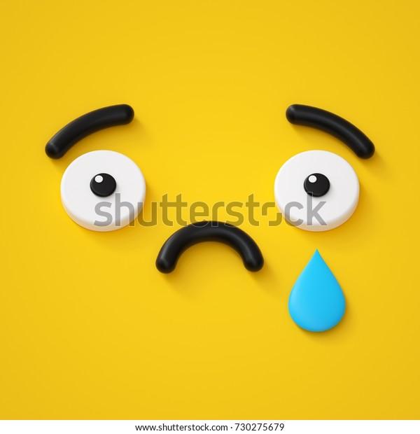3dレンダリング抽象的な感情の悲しい顔アイコン涙悲しみ