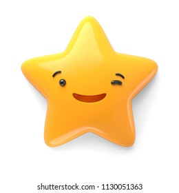 3d render, abstract emotional star icon, stupid funny character, winking, awaiting, cute cartoon star, emoji, emoticon, toy