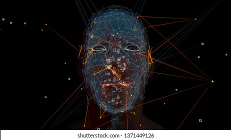 3d render of abstract face analysis. Biometric identification scan concept.  Authentication technology.