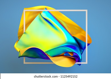 3d render, abstract fashion background, iridescent holographic foil, unveiling folded cloth, creative multicolor textile, isolated on blue
