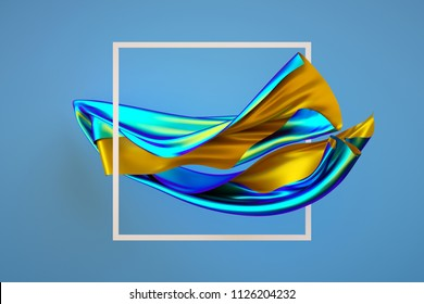 3d render, abstract fashion background, creative wallpaper, unveiling multicolor textile, white square frame, iridescent holographic foil, folded cloth falling, isolated on blue