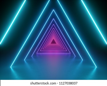 3d render, abstract fashion background, blue pink neon triangular portal, glowing lines, tunnel, corridor, virtual reality, violet neon lights, arch, triangle, vibrant colors spectrum, laser show