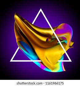 3d render, abstract fashion background, iridescent holographic foil, unveiling gold textile, creative wallpaper, ultraviolet spectrum, folded cloth falling, triangle frame, isolated on violet