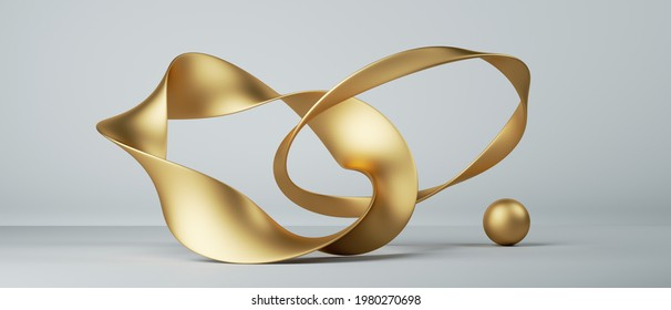 3d render, abstract fashion background with twisted mobius ribbons, connected links, paper stripe macro, golden foil