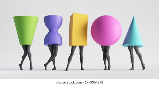 3d render, abstract female body type. Colorful geometric shapes with black legs isolated on white background. Minimal modern fashion clip art