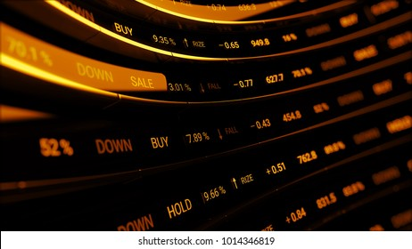 3d render abstract financial background. Market shares and percentage show on digital curved screen. Economic board.