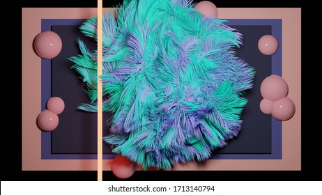 3D render abstract fluffy shape and bubbles