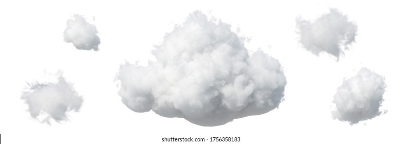 3d render. Abstract fluffy white clouds isolated on white background. Weather forecast symbol. Cumulus clip art set collection. Sky design elements set