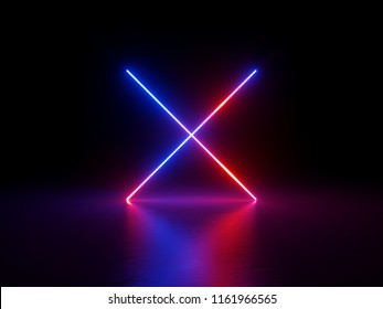 3d render, abstract fluorescent background, neon cross sign, symbol, ultraviolet spectrum, neon lights, red blue glowing lines, laser show, night club, equalizer, optical illusion, virtual reality