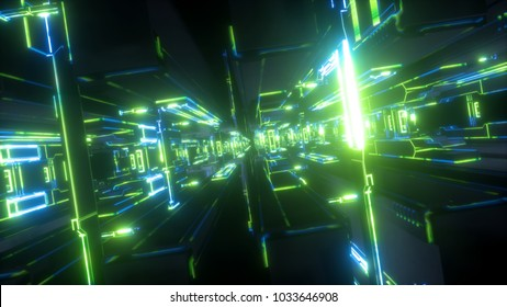 3d render, abstract futuristic background, urban power station, tunnel, green electric light, geometric structure, big data storage, quantum computer, cyber safety, virtual reality