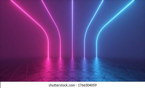 3D-Rendering, abstrakter, futuristischer Hintergrund mit leuchtenden Neonlinien, Retro-Raum im virtuellen Reality-Raum, ultraviolettes Farbverlauf-Spektrum der Synth-Welle