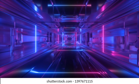 3d render, abstract futuristic geometric background, glowing lines inside long tunnel, corridor, ultraviolet neon light, space station interior, virtual reality space