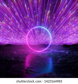 3d render, abstract futuristic neon background, pink violet fireworks over cosmic landscape, glowing round frame, ring shape, ultraviolet light, virtual reality space, energy source, wet ground