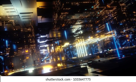 3d render, abstract futuristic urban background, night city, neon lights, virtual reality, cyber safety, electronics, networking, cryptography, quantum computer, electrical power station