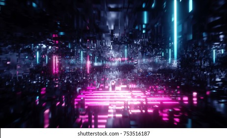 3d render, abstract futuristic urban background, virtual reality, cyber safety, electronics, networking, cryptography, quantum computer