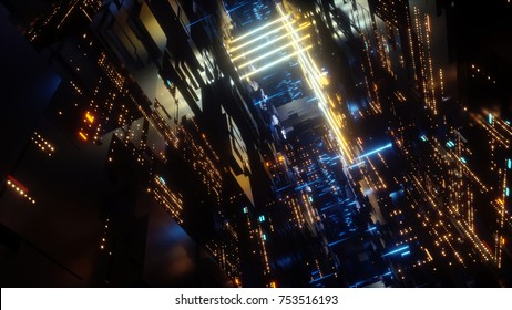 3d render, abstract futuristic urban background, night city, neon lights, virtual reality, cyber safety, electronics, networking, cryptography, quantum computer