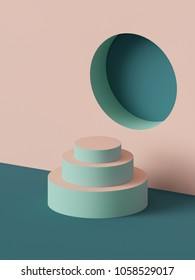 3d render, abstract geometric background, fashion podium, mock up, blank template, minimalistic empty showcase, primitive shapes, round niche, art deco shop display, pastel colors