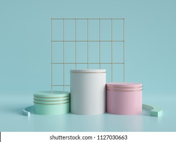 3d render, abstract geometric background, cylinder podium, minimalistic primitive shapes, modern mock up, blank template, gold metal grid, empty showcase, shop display, mint blue pink pastel colors