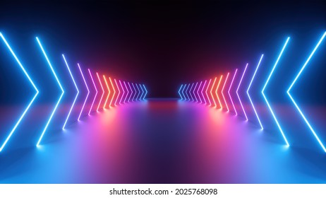 3d render, abstract geometric background with neon glowing arrows, forward direction concept
