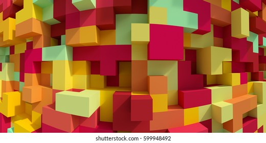 3d render, abstract geometric background, colorful constructor, logic game, cubic mosaic, isometric wallpaper, red yellow structure, cubes