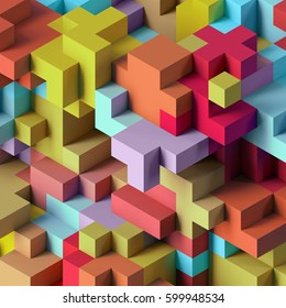 3d render, abstract geometric background, colorful constructor, logic game, cubic mosaic, isometric wallpaper, colorful structure, cubes