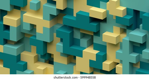 3d render, abstract geometric background, colorful constructor, logic game, cubic mosaic, isometric wallpaper, green yellow structure, cubes