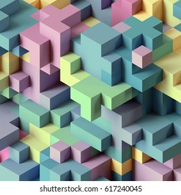 3d render, abstract geometric background, colorful constructor, logic game, cubic mosaic structure, isometric wallpaper, pastel color cubes