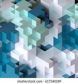 3d render, abstract geometric background, colorful constructor, logic game, cubic mosaic structure, white blue wallpaper