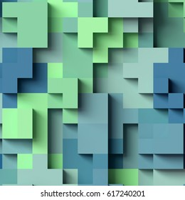 3d render, abstract geometric background, colorful constructor, logic game, cubic mosaic structure, green blue wallpaper