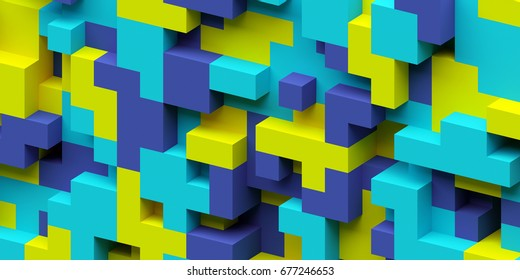 3d render, abstract geometric background, colorful constructor, logic game, cubic mosaic structure, isometric wallpaper, cyan blue yellow cubes