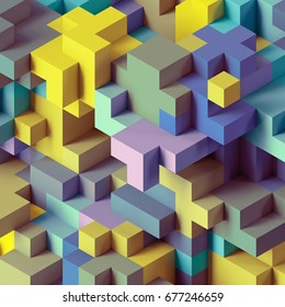 3d render, abstract geometric background, colorful constructor, logic game, cubic mosaic structure, isometric wallpaper, pastel colorful cubes