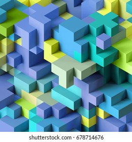 3d render, abstract geometric background, colorful constructor, logic game, cubic mosaic structure, isometric wallpaper, blue green cubes