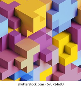 3d render, abstract geometric background, colorful constructor, logic game, cubic mosaic structure, isometric wallpaper, cubes