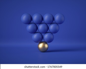 3d render, abstract geometric design: triangle of blue balls with one golden ball, isolated on blue background. Balance, gravity, one of a kind exception concept. Matrix of primitive shapes