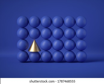 3d render, abstract geometric design: gold cone amongst blue balls isolated on blue background. Balance, gravity, one of a kind exception or mismatch concept. Matrix of primitive shapes