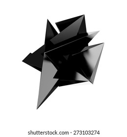 3d render of abstract geometric shape from triangular faces