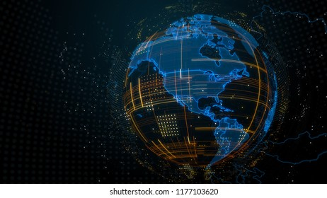 3d render abstract globe with detailed textures. Alot of particles. Countries borders are visible. Digital tech concept.