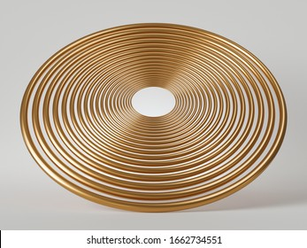 3d render, abstract golden disc, round flat object isolated on white background. Metallic lines. Minimal modern design.