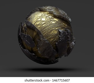 3d render of abstract golden planet earth with rough texture and damaged peaces around in matte glass material with organic shape pattern on dark grey background