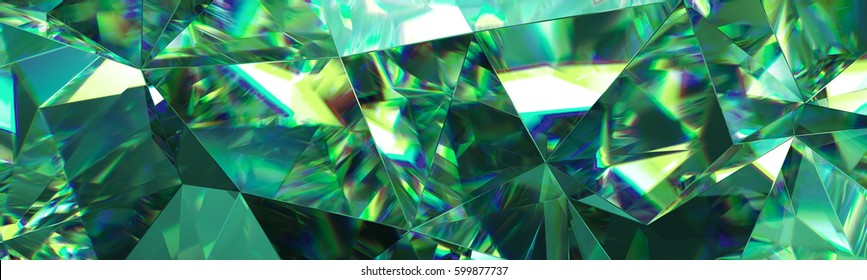 3d render, abstract green crystal background, faceted texture, emerald gem macro, panorama, wide panoramic polygonal wallpaper