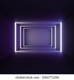 3d render of abstract illuminated empty corridor interior made of gray concrete, glowing ultraviolet lines, daylight tunnel with no exit, fluorescent background, minimalistic space