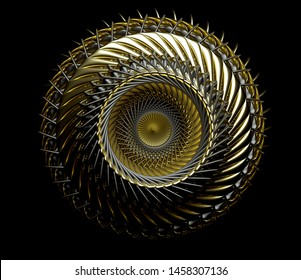 3d render of abstract jet turbine with sharp blades in gold and black matte metal on black background