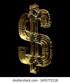 3d render of abstract jewellery dollar sign in liquid gold material and glass atomic wire structure on black background