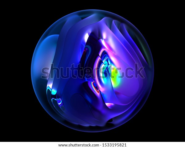 3d render of abstract matte and glossy glass ball with organic curved object inside with neon glowing light in green purple blue and violet color on black background