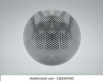 3d render of abstract metal ball based on chain pattern on black and white gradient background and hidden skull inside sphere