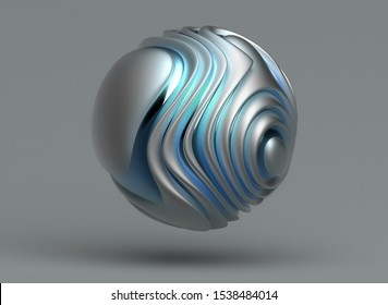 3d render of abstract metal ball in curved smooth organic wavy lines in matte aluminium material with glossy parts in blue and green gradient color on grey background