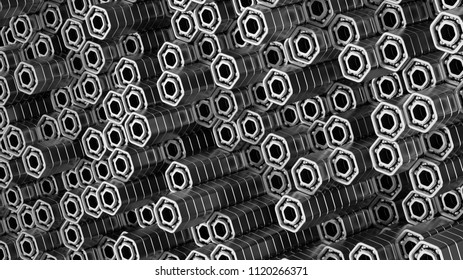 3d render abstract metallic background illustration. Hexagon bearings. Machinery metallic concept.