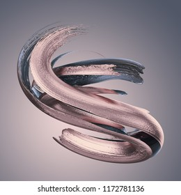 3d render, abstract metallic brushstroke, silver paint smear, splashing platinum shape, rose gold, shiny foil, ribbon, isolated clip art