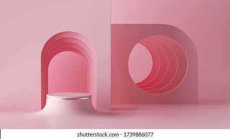 3d render, abstract minimal architectural background, arch niche, room. Empty cylinder podium, vacant pedestal, round stage, showcase stand, cosmetics product display platform. Mockup with copy space