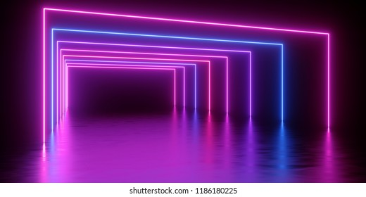 3d render, abstract minimal background, glowing lines tunnel, arch, corridor, pink blue neon lights, ultraviolet spectrum, virtual reality, laser show